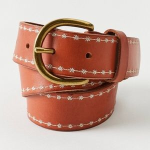 Urban Outfitters Leather Daisy Embroidered Belt L